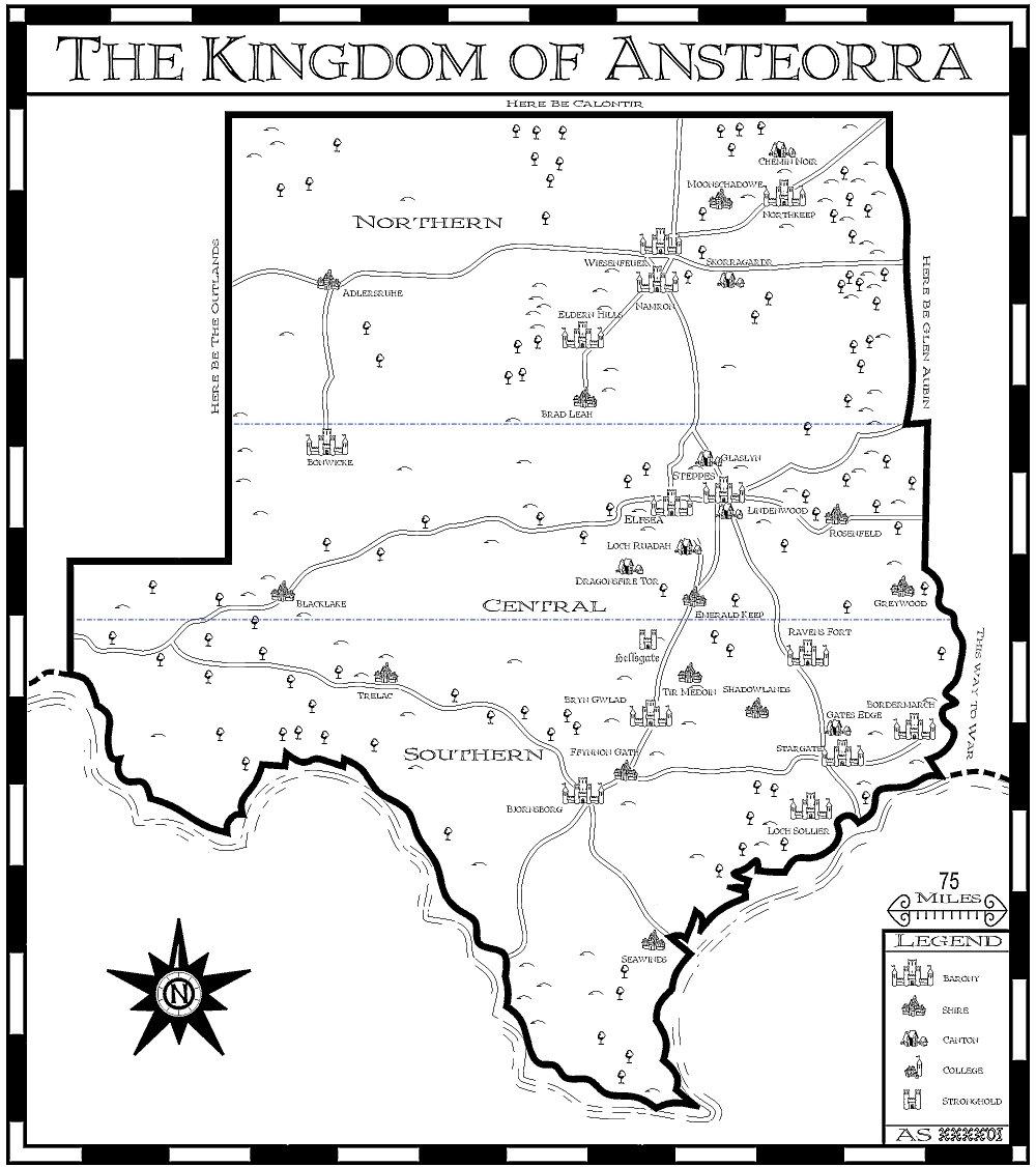 Kingdom Map of Ansteorra